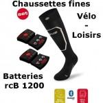 Chaussettes chauffantes Heat Sock 1.0 slim fit Lenz + batteries lithium pack rcB1200