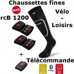Chaussettes chauffantes Heat Sock 1.0 slim fit Lenz + batteries lithium pack rcB1200 + télécommande