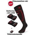 Chaussettes chauffantes ski Heat Sock 5.0 toe cap Lenz + batteries lithium pack rcB1200 + télécommande