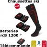 Chaussettes chauffantes ski Heat Sock 1.0 Lenz + batteries lithium pack rcB1200 + télécommande