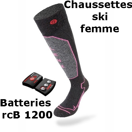 batteries Heat chauffantes pack Chaussettes women lithium Lenz 0 1 ski rcB1200 Sock 1WpBB8qZOw