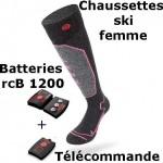 Chaussettes chauffantes ski Heat Sock 1.0 women Lenz + batteries lithium pack rcB1200 + télécommande