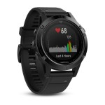 Montre Fenix 5 HR cardio optique Garmin - sapphire black bracelet noir