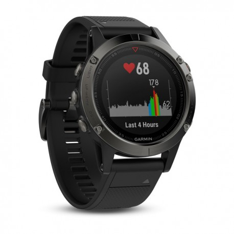 Montre Fenix 5 HR cardio optique Garmin - gray bracelet noir