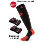Chaussettes chauffantes ski Heat Sock 5.0 toe cap Lenz + batteries lithium pack