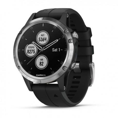 Montre Fenix 5 Plus Garmin - Silver noire avec bracelet noir